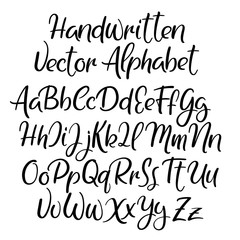 Modern calligraphy style. alphabet. Handwritten font. Uppercase and lowercase letters.