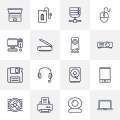 Set Of 16 Computer Outline Icons Set.Collection Of Web Cam, PC, Hdd And Other Elements.