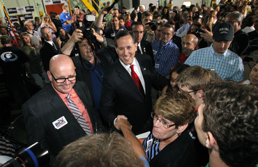 Republican presidential candidate and former U.S. Senator Rick Santorum greets crowd after formally declaring his candidacy for the 2016 Republican presidential nomination