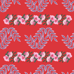 Seamless floral pattern painted by hand. Cute simple pink flowers and fresh twigs. Floral vintage background for textile, cover, wallpaper, gift packaging, printing.