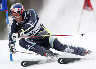 Aksel Lund Svindal of Norway skis to the third best time in the first heat of the men's World Cup giant slalom in Beaver Creek
