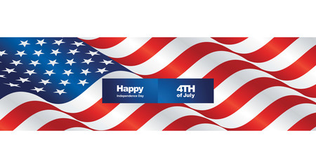 Happy Independence Day USA flag two fold greeting card