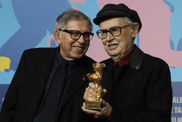 Directors Vittorio and Paolo Taviani pose during a news conference after the awards ceremony of the 62nd Berlinale International Film Festival in Berlin