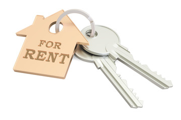 For rent concept, key with keychain, 3D rendering