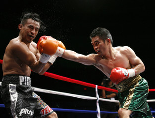 Brian Viloria of the U.S. lands a punch on Julio Cesar Miranda of Mexico in the 10th round during their Flyweight Title boxing match in Honolulu