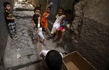 Children play in the old city of the eastern province of Constantine