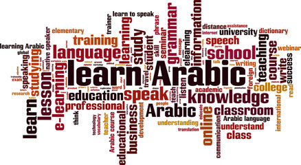 Learn Arabic word cloud