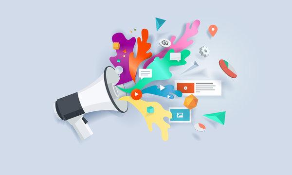 Creative concept banner. Vector illustration for internet marketing, social media, SEO, advertising, e-commerce, apps.