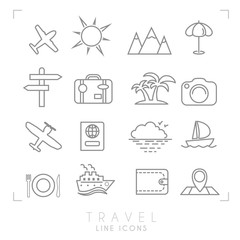 Outline thin travel and vacation icons set. Airplane, sun, umbrella, suitcase, palms, photo camera, pass, sea horizon, yacht, ship, wallet, map and points, wooden arrows, mountains.