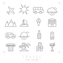 Outline travel line icons set. Airplane, sun, bus, cloud horizon, mountains, yacht, hotel, rent car, luggage, do not disturb message, ionic column, palms, map with points, cocktail and ice cream.