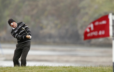 Alex Cejka of Germany chips to the 17th hole during the second round of the U.S. Open Golf Championship in Pebble Beach, California