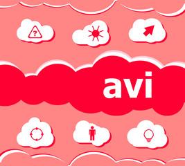 digital concept. avi word on digital screen