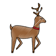 cute reindeer christmas icon vector illustration design