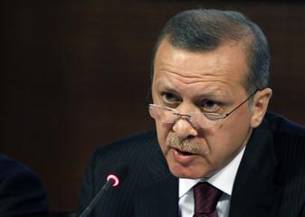 Turkey's Prime Minister Recep Tayyip Erdogan addresses the media in Ankara