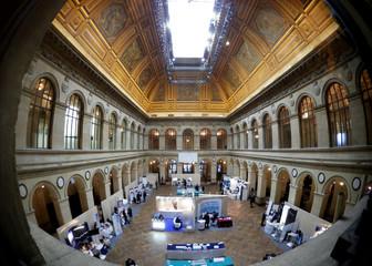 Inside view of the Palais Brongniart, former Paris Stock Exchange, at the place de la Bourse in Paris