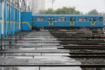 A train of Kiev's subway is seen in a depot in Kiev