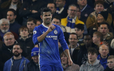 Chelsea's Diego Costa reacts after scoing a disallowed goal