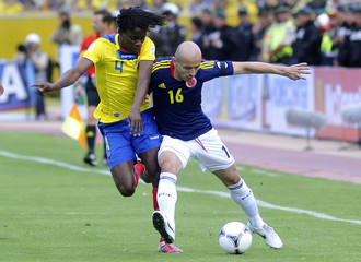 Colombia's Soto challenges Ecuador's Paredes during their 2014 World Cup qualifying soccer match in Quito