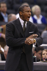 Toronto Raptors coach Casey yells instructions during their NBA basketball game against Orlando Magic in Orlando