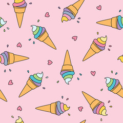 Pastel ice cream seamless pattern with cute hearts on pink background