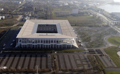 Aerial view of the Matmut Atlantique stadium in Bordeaux, Southwestern France