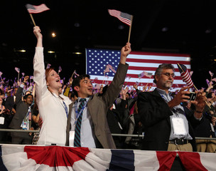 Guests celebrate at U.S. President Obama's election night victory rally in Chicago