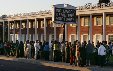 A crowd waits in line for a public viewing of singer Etta James, who died last week at age 73, at Inglewood Cemetery Mortuary in Inglewood, California