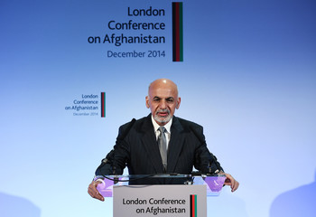Afghanistan's President Ashraf Ghani speaks to delegates and ministers during the London Conference on Afghanistan