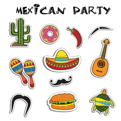 Mexican party sticker applique set. Vector illustration.