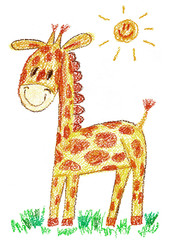Cute giraffe Kids drawing illustration for zoo, t-shirt, kindergarten, school Chalk, crayon picture