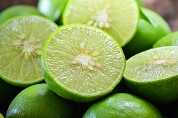 Close up shot of wet limes