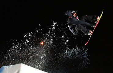 Austria's Clemens Schattscheider competes during the men's Big Air FIS World Cup competition in Quebec City