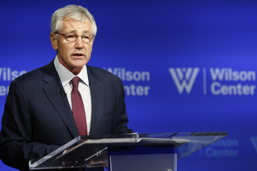 U.S. Secretary of Defense Chuck Hagel delivers remarks on NATO expansion and European security at the Wilson Center in Washington