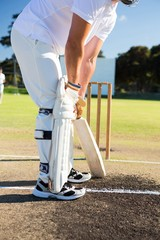 Low section of man playing cricket at sports field