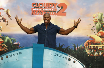 """Actor Crews, one of the voice talents from the new Sony Pictures Animation film """"Cloudy with a Chance of Meatballs 2"""", poses during a photo call in Beverly Hills, California"""