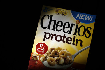 A box of Cheerios cereal containing protein is seen in this photo illustration in Wilmette