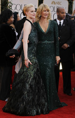 Actresses Evan Rachel Wood and Laura Dern arrive at the 69th annual Golden Globe Awards in Beverly Hills