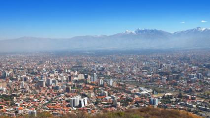 Panoramic view of Cochabamba with the Tunari mountain range in the background
