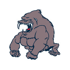 beast strong Gorilla cartoon character. Vector Illustration.