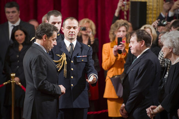 Doctor Montagnier, co-discover of the Human immunodeficiency virus (HIV) and the 2008 Nobel laureate for Medicine, is awarded with the Legion of Honour by France's President Sarkozy in Paris