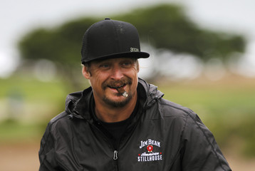 Kid Rock reacts to happy birthday greetings from the gallery on the eight hole at the Monterey Peninsula Country Club in Pebble Beac