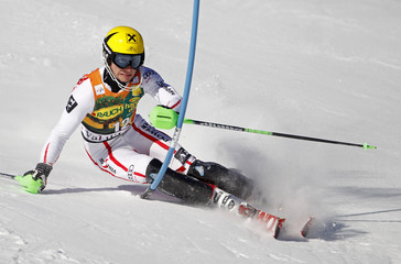 Marcel Hirscher of Austria skis during the first leg in the men's World Cup Slalom skiing race in Val d'Isere