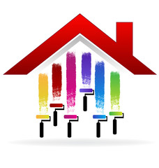House painting in colorful logo