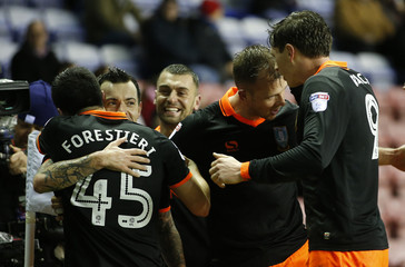 Sheffield Wednesday's Ross Wallace celebrates scoring their first goal with teammates