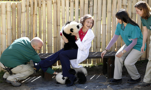 Spanish Queen Sofia laughs as she plays with twin pandas Po and De De at the Madrid Zoo & Aquarium