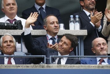 Italian Prime Minister Renzi attends the all-Italy women's singles finals match between Vinci and Pennetta at the U.S. Open Championships tennis tournament in New York