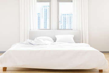 The modern of white bedroom bed sheets and pillows ,comfort and bedding concept, 3D illustration 3D render image