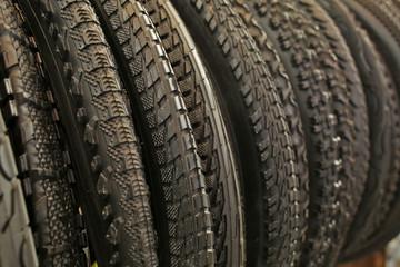 Bicycle tires, closeup