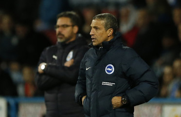 Huddersfield Town manager David Wagner and Brighton manager Chris Hughton