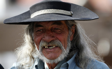 A gaucho smiles during the annual celebration of Criolla Week in Montevideo